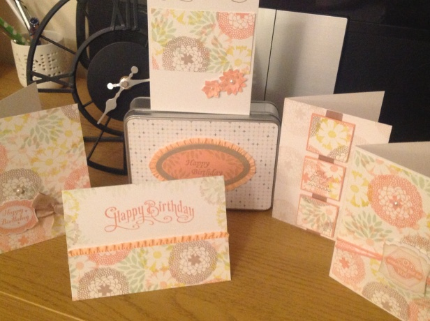 One sheet wonder 5 cards in a tin using Stampin Up! Products.