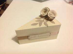 Cake wedge box app 5 x 3.5 inches, looks like a slice of Coffee Cake!