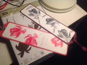 A quick project 2 bookmarks using SAB Lotus Flower free stamp set ...... so pretty