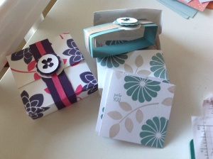 """3""""x3"""" notecards in Melon Mambo and Elegant Eggplant. Lost Lagoon and Sahara Sand"""