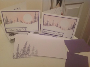 2 of each design and stamped envelopes to match